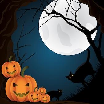 Happy halloween day leuke kat en pompoen glimlach griezelige enge achtergrond met een volle maan