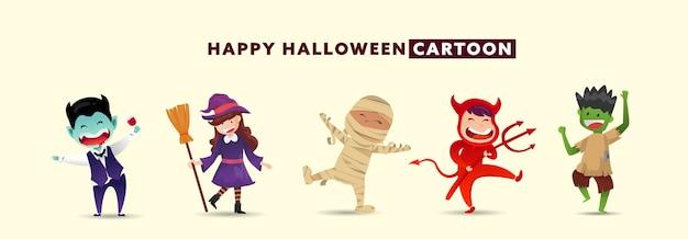 Happy halloween day met verzameling van schattige monster karakter.
