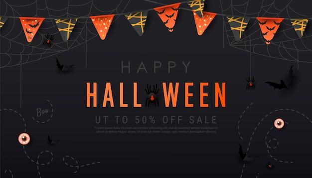 Happy halloween donkere banner. enge spinnen op web, vleermuizen, slingers en ballen