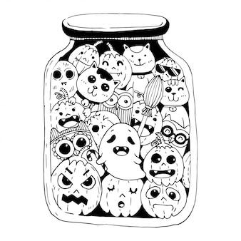 Happy halloween doodles-stijl