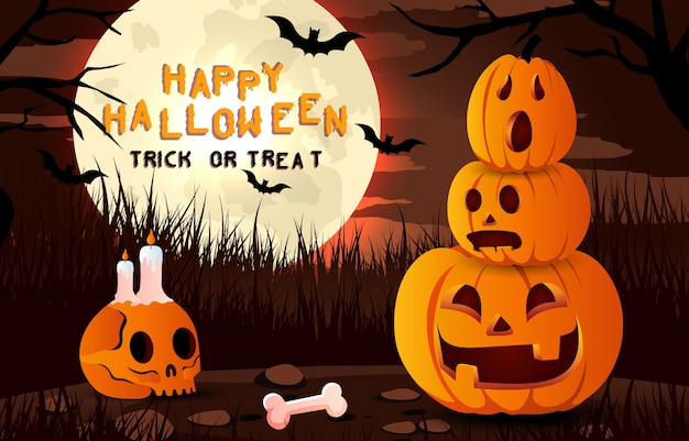 Happy halloween enge achtergrond. uitnodiging voor halloween-feest of banner met lachende pompoen. horror illustratie.