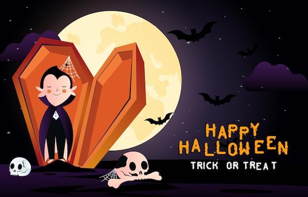 Happy halloween enge achtergrond. uitnodiging voor halloween-feest of banner met vampier en graf. horror illustratie.