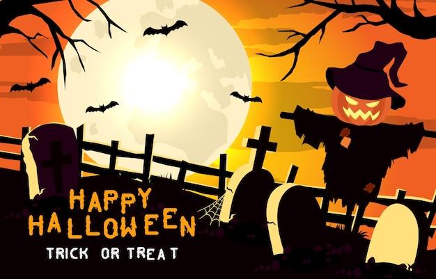 Happy halloween enge achtergrond. uitnodiging voor halloween-feest of banner met vogelverschrikker en graf. horror illustratie.