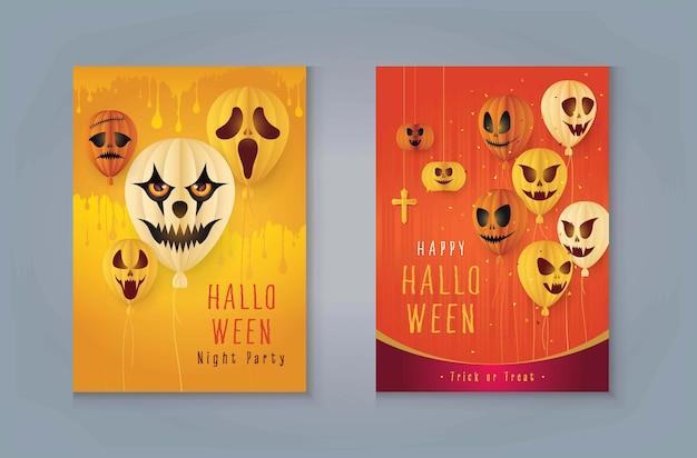 Happy halloween enge luchtballon, griezelige enge luchtballonnen. halloween lucht vliegende ballonnen, halloween pompoenen met bloed en schedel.