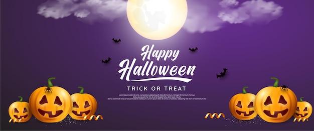 Happy halloween enge pompoenen kaart met maan en vleermuizen