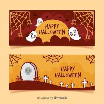 Happy halloween-feest in begraafplaats banner