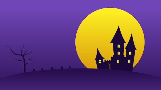 Happy halloween-feestachtergrond met volle maan in de nachtelijke hemel achter een spookkasteel op heuvels