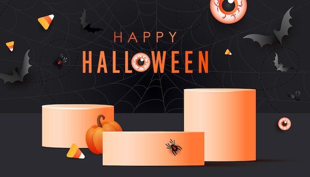 Happy halloween feestelijke korting product display podium achtergrond