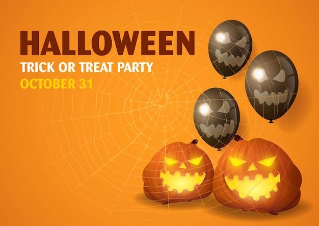 Happy halloween-feestuitnodiging met decoratieve ballonnen, pompoenen en spinnenweb
