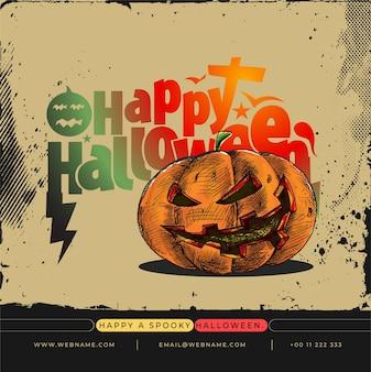 Happy halloween festival digital concept instagram en social media post-sjabloon voor spandoek.