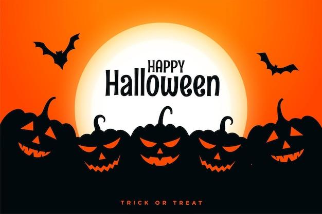 Happy halloween festivalkaart met pompoenen in verschillende uitdrukkingen