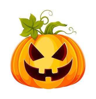 Happy halloween funny jack o lantern met eng gezicht