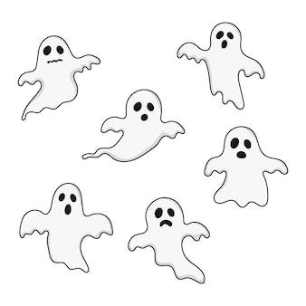 Happy halloween geesten set pictogrammen. eng, geest op wit wordt geïsoleerd.