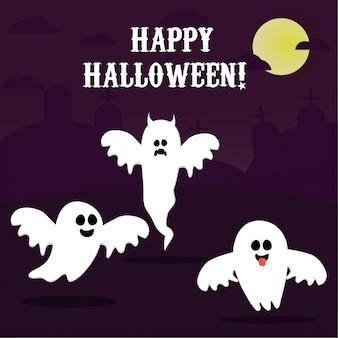 Happy halloween, ghost, scary white ghosts. cute cartoon spookachtige karakter. lachend gezicht, handen.