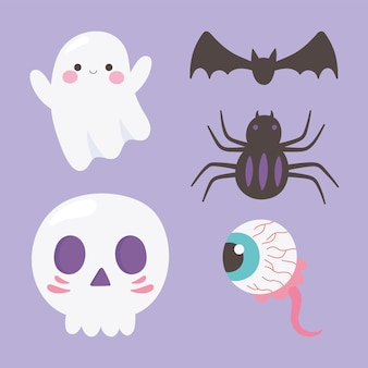 Happy halloween ghost skull spider griezelig oog en vleermuis pictogrammen illustratie