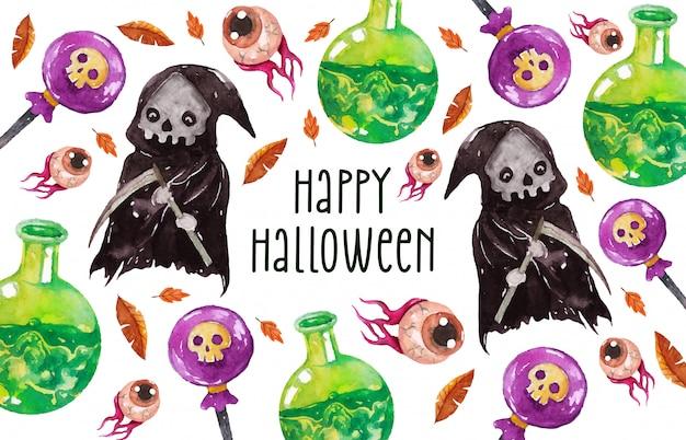 Happy halloween grim reaper wenskaart in aquarel stijl