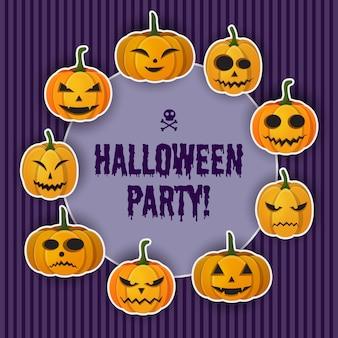 Happy halloween-groetsjabloon met inscriptie en pompoenen met verschillende uitdrukkingen