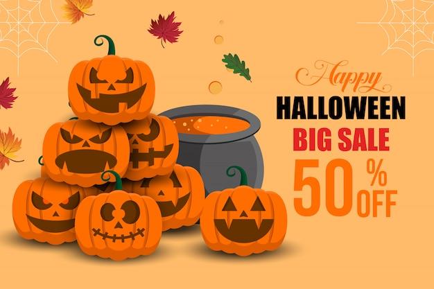 Happy halloween grote verkoop banner achtergrond sjabloon