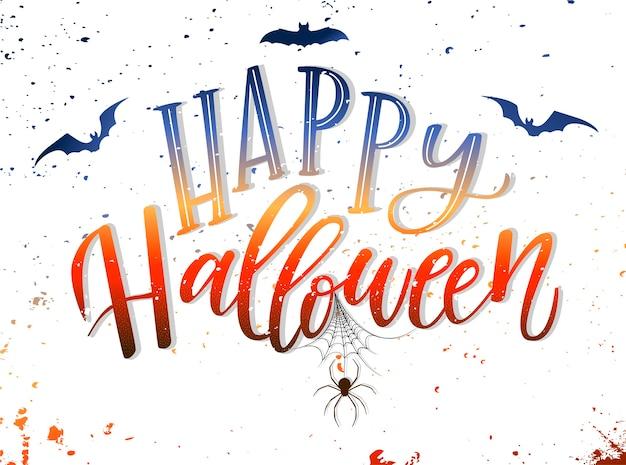 'happy halloween' hand belettering kaart ontwerp