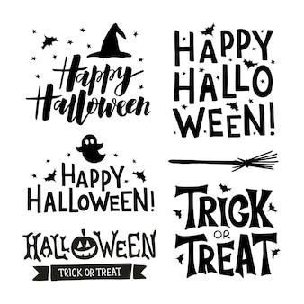 Happy halloween hand getrokken typografie belettering met vleermuis, ster, hoed.