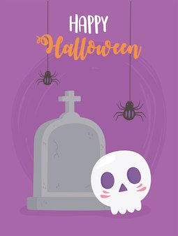 Happy halloween hangende spinnen schedel en grafsteen kaart illustratie