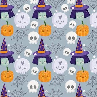 Happy halloween, heksengezicht schedels pompoen hoed spinneweb trick or treat feestviering achtergrond vectorillustratie