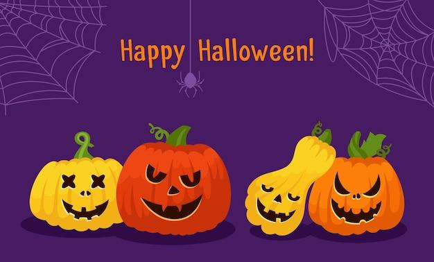 Happy halloween kaart pompoen gezicht spinnenweb en spin pompoenen bang en smiley gezichten griezelige grijns