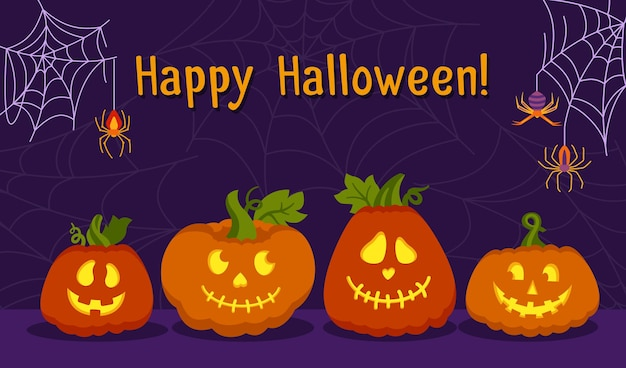 Happy halloween-kaart pompoen gezicht spinneweb en spin cartoon gloeit van binnen bang en smileygezichten