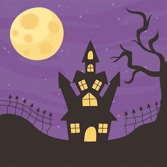 Happy halloween, kasteel nacht maan boom en hek trick or treat partij viering vectorillustratie