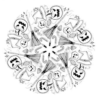 Happy halloween krans. doodles stijl.