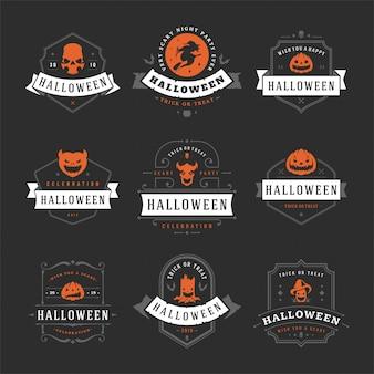 Happy halloween labels en badges instellen