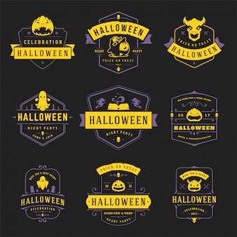 Happy halloween labels en badges ontwerpset vintage typografie sjablonen