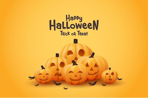 Happy halloween lachende pompoen in plat ontwerp