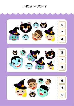 Happy halloween math game voor kinderen met monsters. wiskundige praktijk. onderwijsspel voor kinderen. hoeveel en hoeveel.
