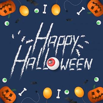 Happy halloween met 3d pompoen achtergrond