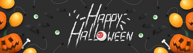 Happy halloween met 3d pompoen banner