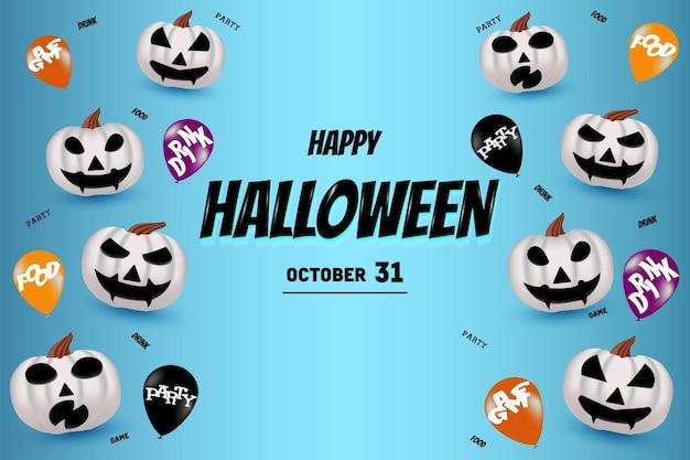 Happy halloween met witte pompoenachtergrond en ballonnen rechts en links and