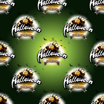 Happy halloween naadloze patroon illustratie met maan en pompoen op een donkere groene achtergrond.