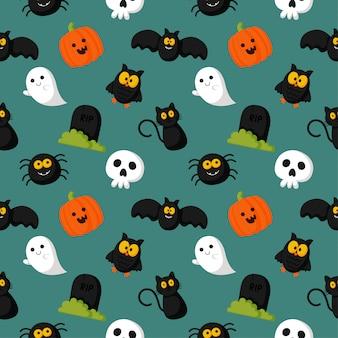 Happy halloween naadloze patroon op groene achtergrond.