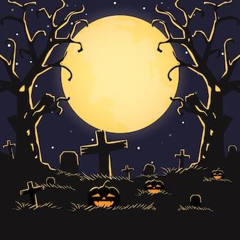 Happy halloween-nacht met enge pompoenen en maan. vakantie concept. . illustratie