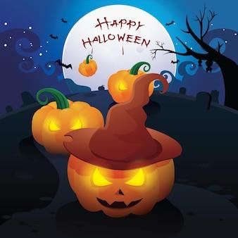 Happy halloween-nachtachtergrond met enge pompoen vectorillustratie