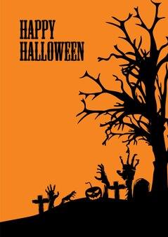 Happy halloween of feestuitnodiging achtergrond met pompoen en dode boom