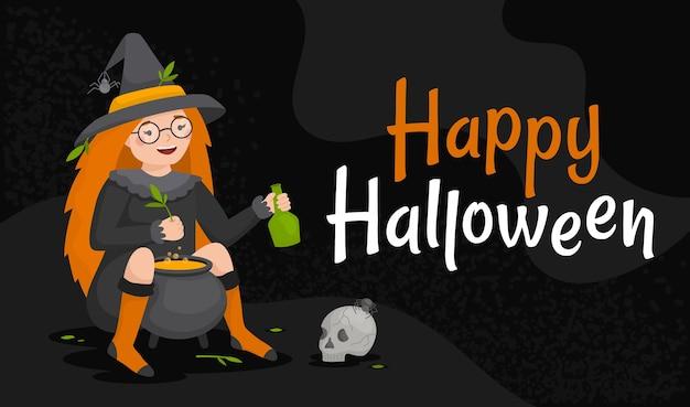 Happy halloween oktober horizontale webbanner. heksenmeisje brouwt een drankje