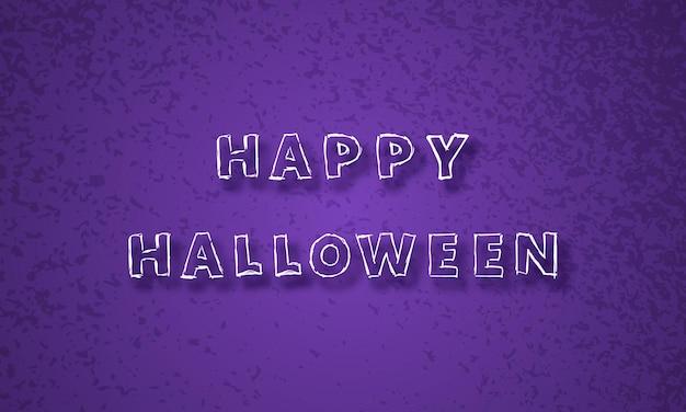 Happy halloween paarse feestelijke achtergrond met hand getrokken inscriptie happy halloween met schaduw. vector illustratie.