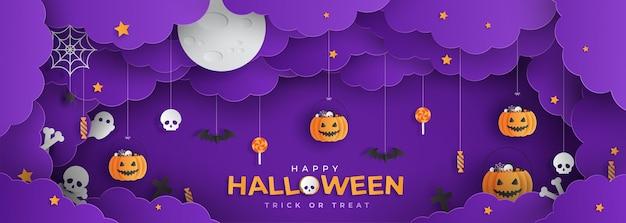Happy halloween papercut stijl