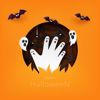 Happy halloween papier kunststijl. zombiehand stijgen van kerkhof met vliegende vleermuis, spook en spinnenweb.