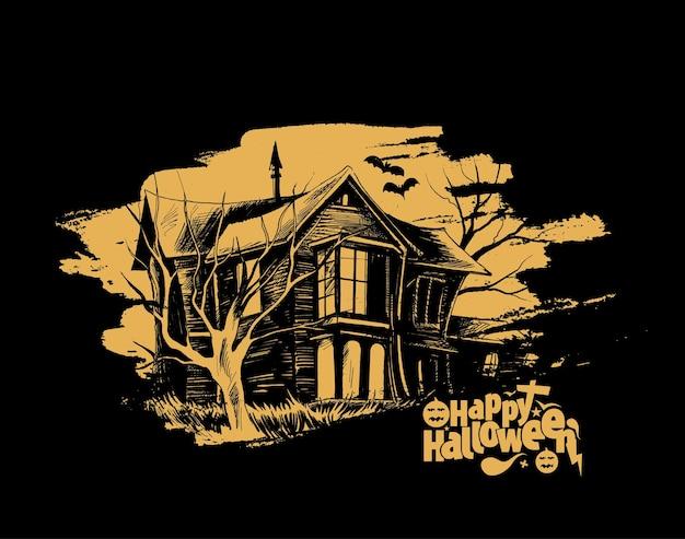 Happy halloween party enge boerderij - halloween spandoek of poster.