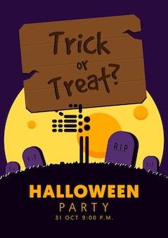 Happy halloween party flyer sjabloon ontwerp achtergrond decoratief met skelet en doodskist platte ontwerpstijl,