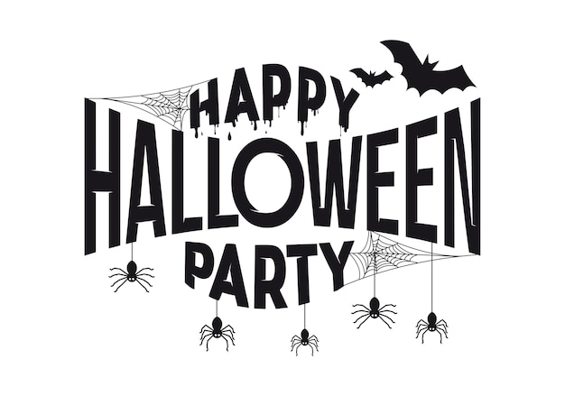 Happy halloween party tekst ontwerp banner.