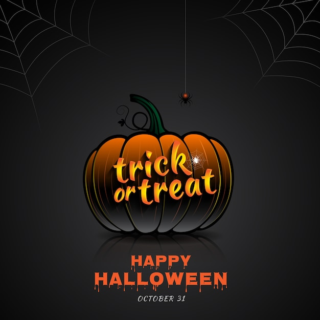Happy halloween party trick or treat pompoen en spinnenweb